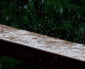 Rain drops fall upon a wooden surface