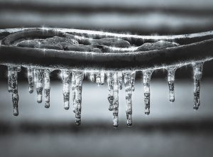 Icicles form on cast iron
