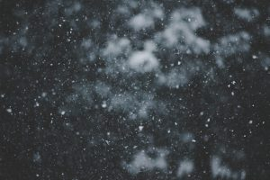 A collection of snowflakes fall