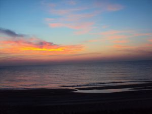 Bethany Beach with a colorful sky